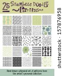 set of 25 seamless doodle... | Shutterstock .eps vector #157876958