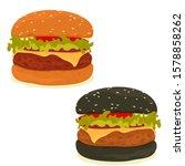 classic and black hamburgers... | Shutterstock .eps vector #1578858262