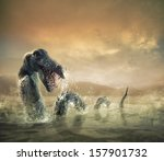 Stock photo photo composite of loch ness monster 157901732