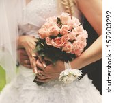 bride and groom holding hands....   Shutterstock . vector #157903292