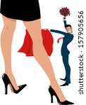 Bullfighter and his date. Young businessman posing as a bullfighter with a cape and a bouquet of roses, women's legs in stiletto heels on the front, vector illustration