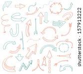 set of hand drawn arrows hand... | Shutterstock .eps vector #157913222