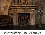 Dark Fireplace In Vintage Style ...