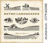 retro landscapes set in woodcut ... | Shutterstock . vector #1579182088