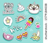 fashion patch badges with cat... | Shutterstock .eps vector #1579184038