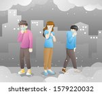 people in masks because of fine ...   Shutterstock .eps vector #1579220032