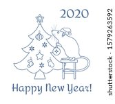 happy new year 2020  merry... | Shutterstock .eps vector #1579263592