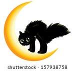 cute cartoon black kitten on... | Shutterstock .eps vector #157938758