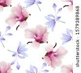 pink magnolia. violet... | Shutterstock . vector #1579389868