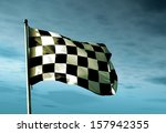 Checkered Flag Waving In The...