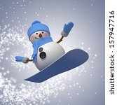 3d snowman on snowboard  winter ... | Shutterstock . vector #157947716