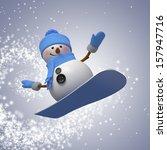 3d snowman on snowboard  winter ... | Shutterstock . vector #157947716