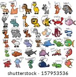 set of cartoon animals | Shutterstock .eps vector #157953536
