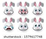 Emoticon Rabbit Face Vector Set....