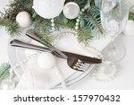 festive christmas table setting ... | Shutterstock . vector #157970432