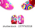 Children slippers isolated on...