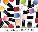 coloured nail polish bottles... | Shutterstock .eps vector #157981508