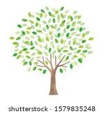 watercolor big tree in spring   Shutterstock . vector #1579835248