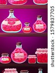 potion bottles  jars on shelf.... | Shutterstock .eps vector #1579837705
