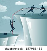 abstract businessman gets help... | Shutterstock .eps vector #157988456