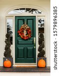 Green Front Door With Fall...
