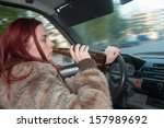drunk woman driving car with... | Shutterstock . vector #157989692