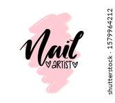 nail artist hand drawn logo...   Shutterstock .eps vector #1579964212