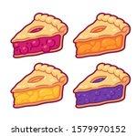 cute cartoon pie slices set.... | Shutterstock .eps vector #1579970152