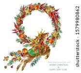 Watercolor Christmas Reindeer....