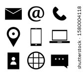 contact us flat icon. vector   | Shutterstock .eps vector #1580004118