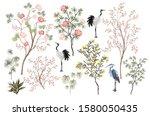 beautiful exotic chinoiserie...   Shutterstock .eps vector #1580050435
