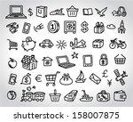 big set of icons doodle sketch | Shutterstock .eps vector #158007875