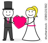 bridal couple man and woman | Shutterstock .eps vector #1580131582
