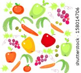 a set of fresh vegetables and... | Shutterstock .eps vector #158014706