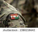 Flag of Austria-Hungary or Austro-Hungarian Empire (1867–1918) on military uniform. Army, soldiers. Collage.