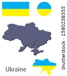 ukraine silhouette and flag... | Shutterstock .eps vector #1580238355