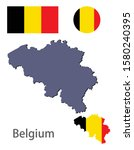 belgium silhouette and flag... | Shutterstock .eps vector #1580240395