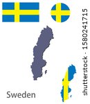 sweden silhouette and flag... | Shutterstock .eps vector #1580241715