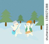 Illustration Of Two Snowmen  A...