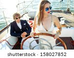 fashion beautiful couple in... | Shutterstock . vector #158027852