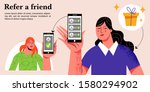 refer a friend concept with a...