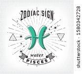 zodiac sign pisces logo and... | Shutterstock .eps vector #1580342728