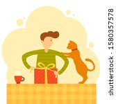 man and cat pack a gift.... | Shutterstock .eps vector #1580357578