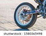 Closeup Rear Motorcycle Wheel...