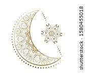 golden cresent moon and star...   Shutterstock .eps vector #1580455018