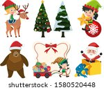 christmas set with reindeer and ... | Shutterstock .eps vector #1580520448