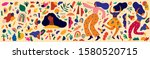 colorful trendy pattern with... | Shutterstock .eps vector #1580520715