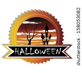 abstract halloween label with... | Shutterstock .eps vector #158053082