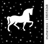 silhouette of horse on a black... | Shutterstock . vector #158053268