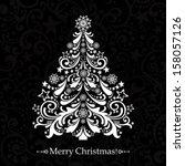 christmas card. christmas tree. ... | Shutterstock .eps vector #158057126